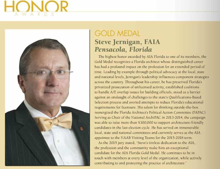 Jernigan '81 Awarded AIA Florida Gold Medal