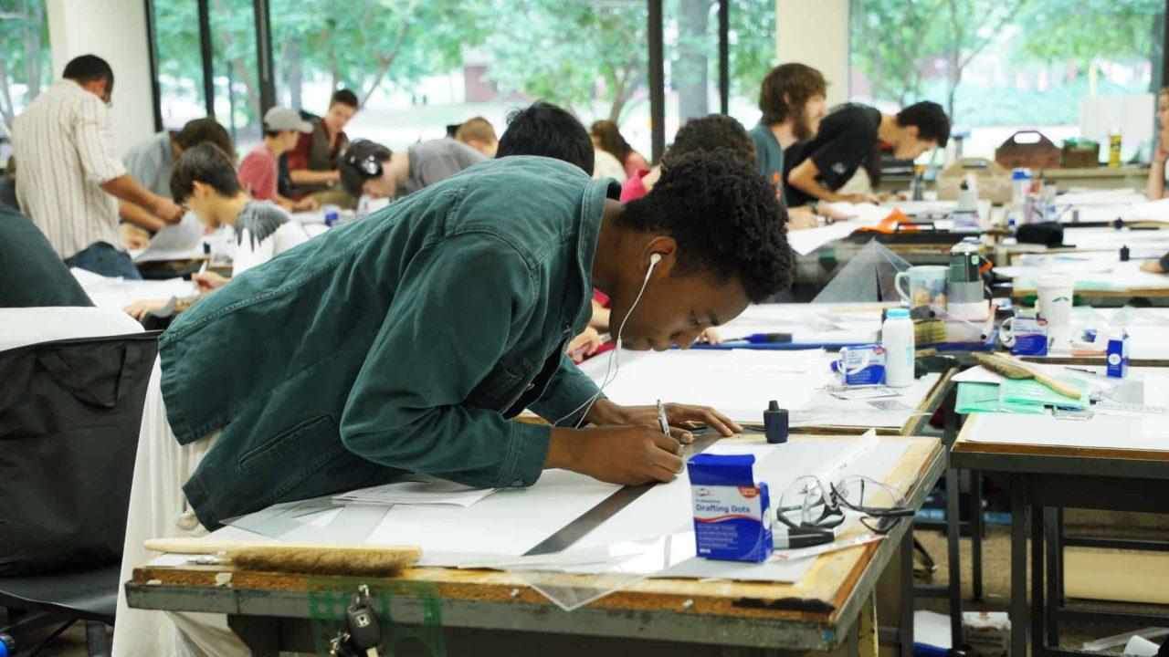 Industrial Design student working in studio space